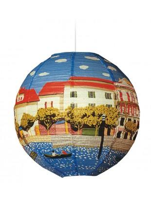 Χάρτινο Φωτιστικό Μπάλα Με Τοπίο Πόλης Φ - 40cm