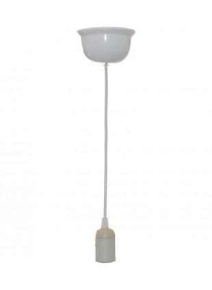 Απλή ανάρτηση φωτιστικού σε λευκό χρώμα - Ντουί, Ε27