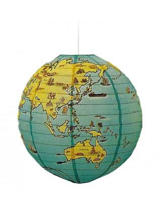 Χάρτινο Φωτιστικό Μπάλα με Παγκόσμιο Χάρτη Φ -40cm