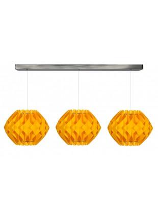 Κίτρινο τρίφωτο κρεμαστό φωτιστικό οροφής Nova S2