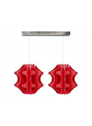 Κόκκινο δίφωτο κρεμαστό φωτιστικό οροφής Duette 1