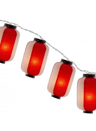 Φωτιστικό Γιρλάντα Λευκή -Κόκκινη Χάρτινη Κύλινδρος 8m