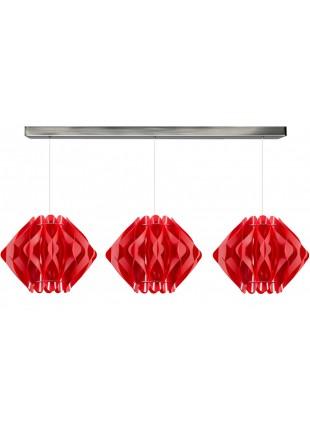 Κόκκινο Τρίφωτο Κρεμαστό Φωτιστικό Οροφής Ravena M2 Οριζόντια Ράγα