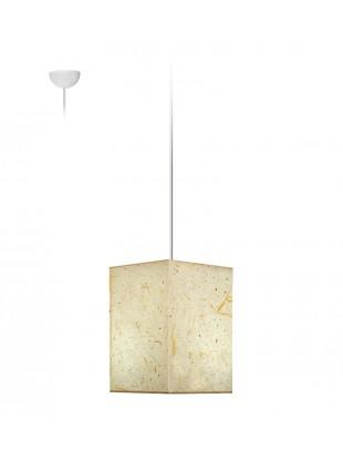 Φυσικό Κρεμαστό Φωτιστικό Τετράγωνο Αμπαζουρ από Ριζόχαρτο 25x25x25