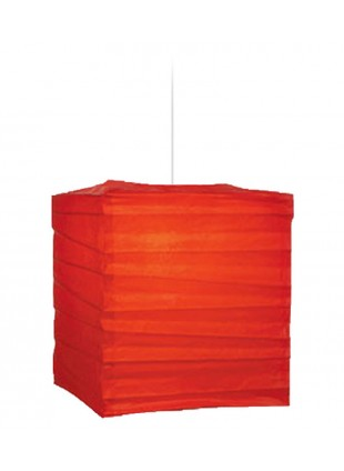 Τετράγωνο Χάρτινο Φωτιστικό 25 x 25 x 30 cm - Κόκκινο