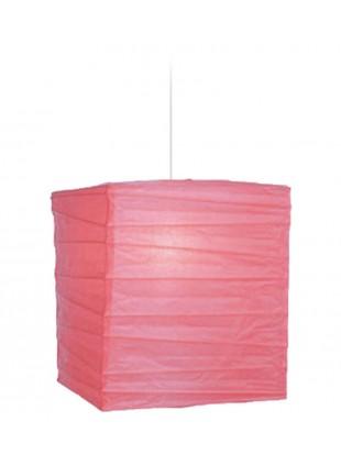 Τετράγωνο Χάρτινο Φωτιστικό 25 x 25 x 30 cm - Ροδί
