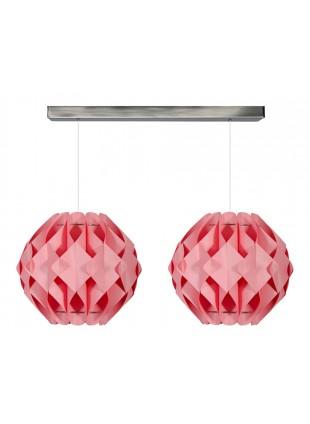 Ροζ δίφωτο κρεμαστό φωτιστικό οροφής Nova Μ1