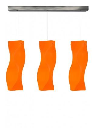 Πορτοκαλί τρίφωτο κρεμαστό φωτιστικό οροφής Venus M2