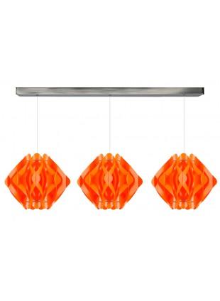 Πορτοκαλί Τρίφωτο Κρεμαστό Φωτιστικό Οροφής Ravena M1 Οριζόντια Ράγα