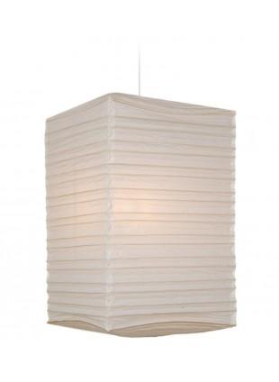 Κρεμαστό Λευκό Τετράγωνο Χάρτινο Φωτιστικό Υ-70cm