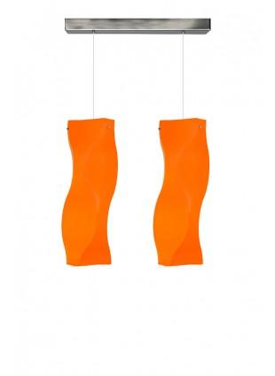 Πορτοκαλί δίφωτο κρεμαστό φωτιστικό οροφής